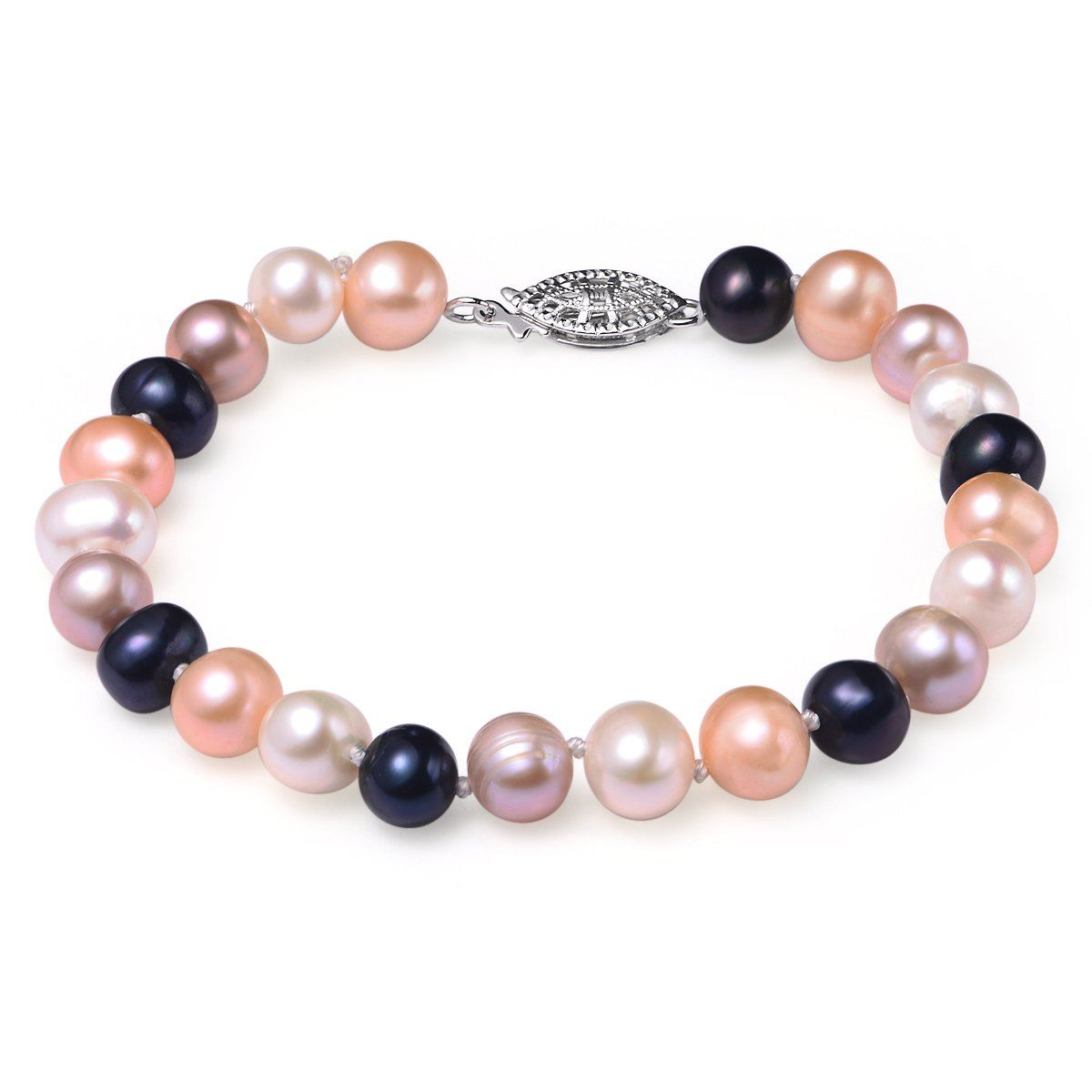 multi colored, 7-8mm aa, cultured freshwater pearl bracelet with 14k white gold filled fish hook