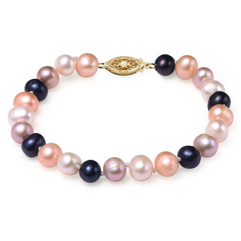 Multi Colored, 7-8mm AA, Cultured Freshwater Pearl Bracelet with 14k Yellow Gold Filled Fish Hook