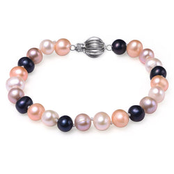 Multi Colored, 7-8mm AA, Cultured Freshwater Pearl Bracelet with 925 Sterling Silver Fluted Ball Clasp