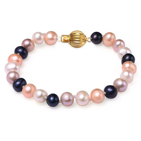 Multi Colored, 7-8mm, AAA, Cultured Freshwater Pearl Bracelet with 14k Solid Yellow Gold Fluted Ball