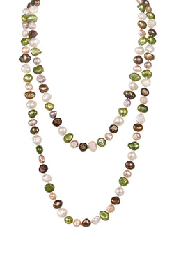 Multi Colored Necklace Cultured Freshwater Pearl Baroque