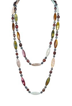 Multi Colored Necklace Cultured Freshwater Pearl Shell