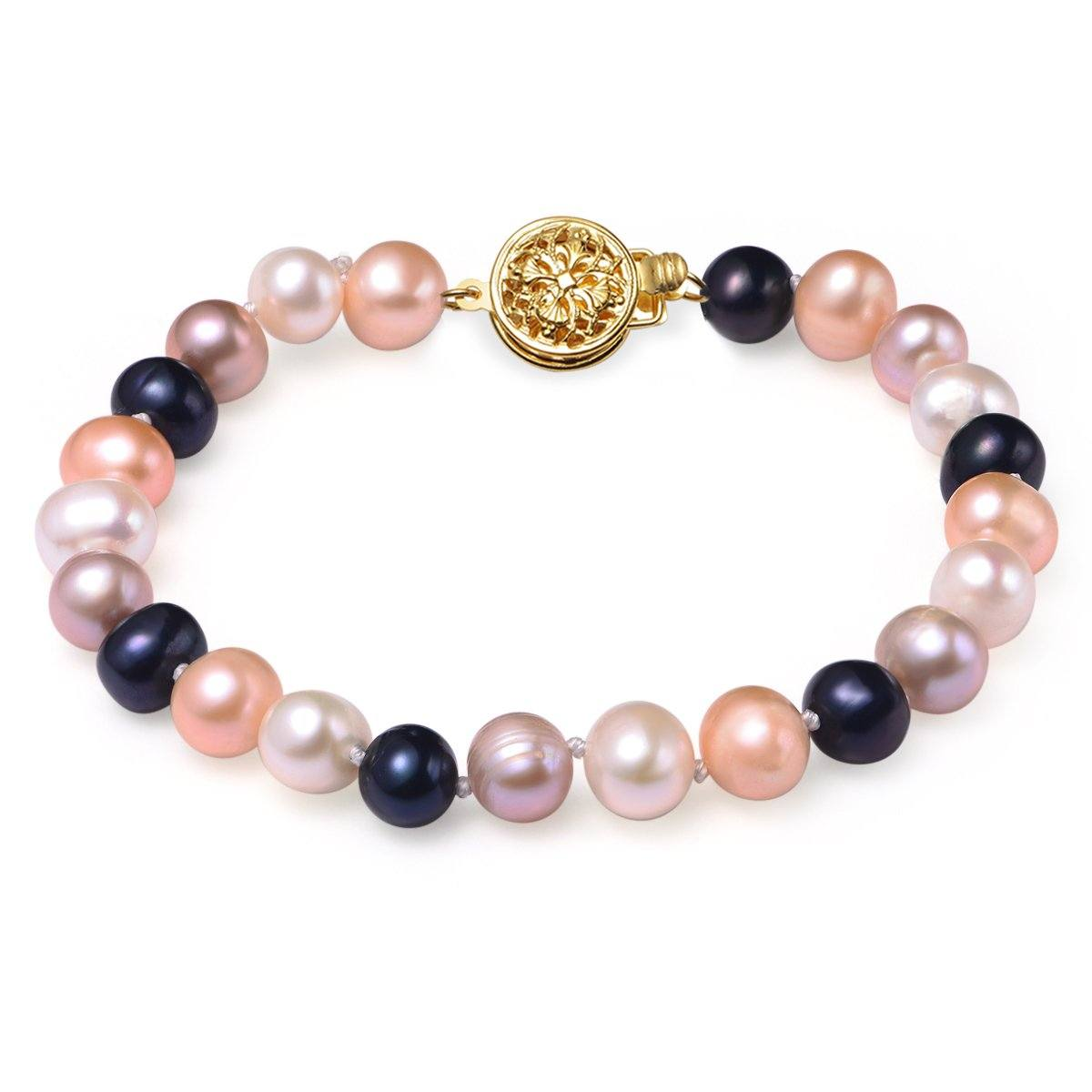 multi colored pearl bracelet 7-8 mm aaa cultured freshwater pearls with 14k solid yellow gold round filigree