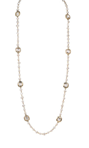 Necklace Cultured Freshwater Pearl Glass and Yellow Gold Plated Metal 36""