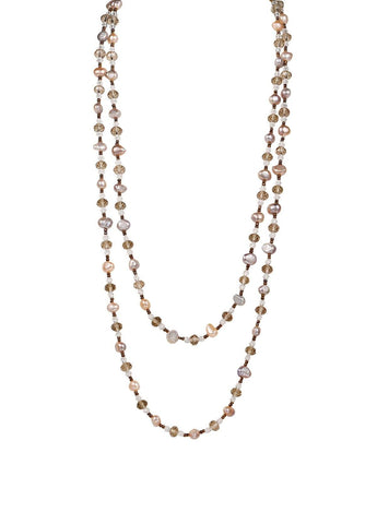 Necklace Long Cultured Freshwater Pearl Glass Bead 40""