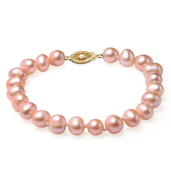 Pink, 7-8mm AA, Cultured Freshwater Pearl Bracelet with 14k Yellow Gold Filled Fish Hook