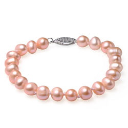 Pink, 7-8mm AA, Cultured Freshwater Pearl Bracelet with 925 Sterling Silver Fish Hook