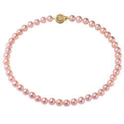 Pink, 7-8mm, AA, Cultured Freshwater Pearl Strand Necklace with 14k Solid Yellow Gold Round Filigree