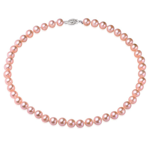 Pink, 7-8mm, AA, Cultured Freshwater Pearl Strand Necklace with 925 Sterling Silver Fish Hook
