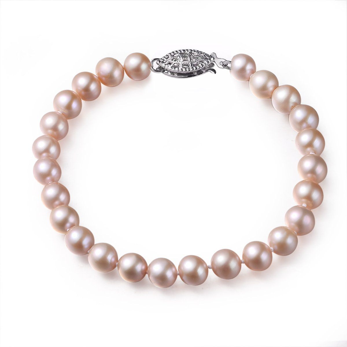 pink, 7-8mm, aaa, cultured freshwater pearl bracelet with 14k solid white gold fish hook