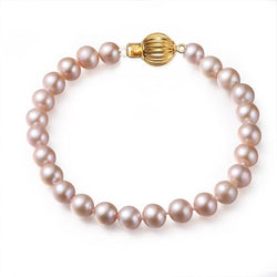Pink, 7-8mm, AAA, Cultured Freshwater Pearl Bracelet with 14k Solid Yellow Gold Fluted Ball