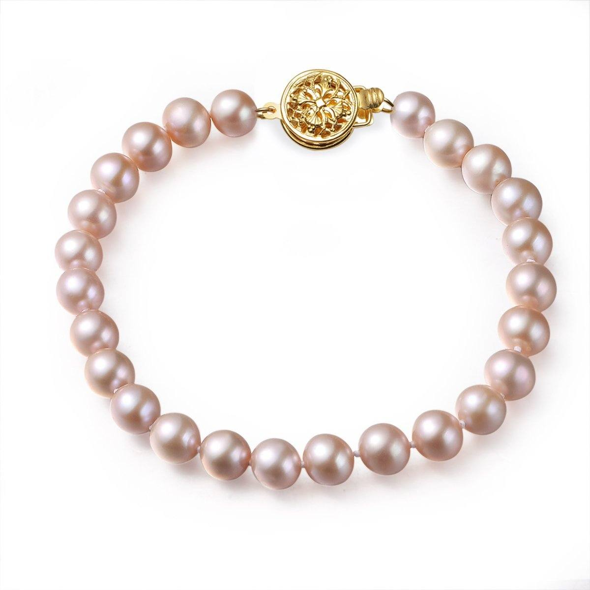 pink, 7-8mm, aaa, cultured freshwater pearl bracelet with 14k solid yellow gold round filigree
