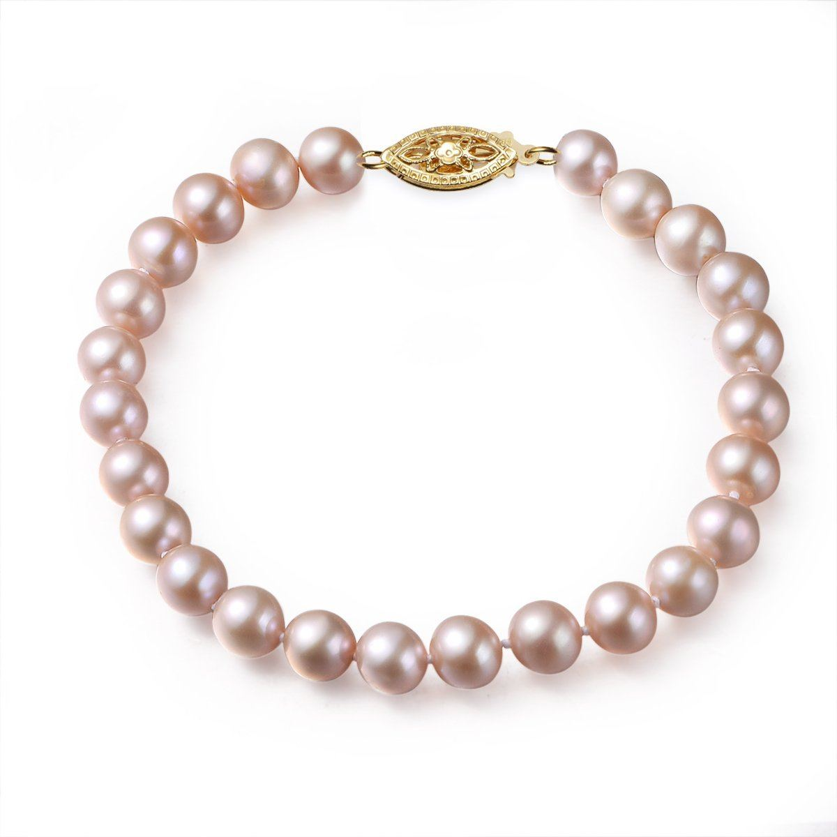 pink, 7-8mm, aaa, cultured freshwater pearl bracelet with 14k solid yellow gold fish hook