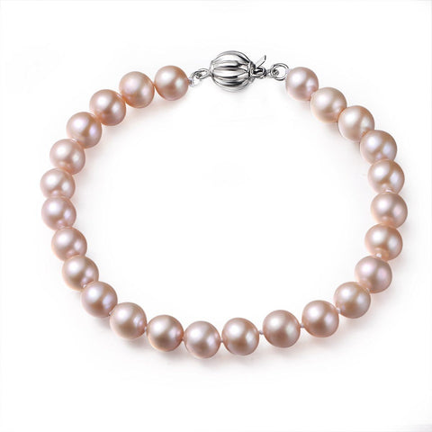 Pink, 7-8mm, AAA, Cultured Freshwater Pearl Bracelet with 925 Sterling Silver Fluted Ball