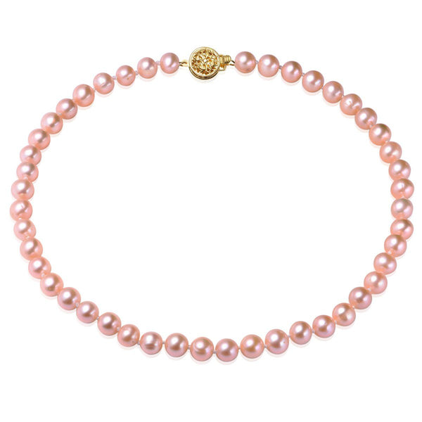 Pink, 7-8mm, AAA, Cultured Freshwater Pearl Strand Necklace with 14k Solid Gold Round Filigree