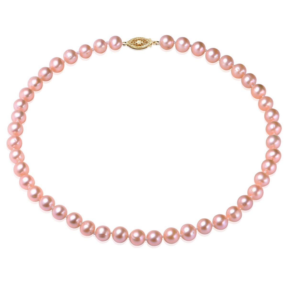 pink, 7-8mm, aaa, cultured freshwater pearl strand necklace with 14k solid yellow gold fish hook