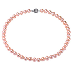 Pink, 7-8mm, AAA, Cultured Freshwater Pearl Strand Necklace with 925 Sterling Silver Fluted Ball
