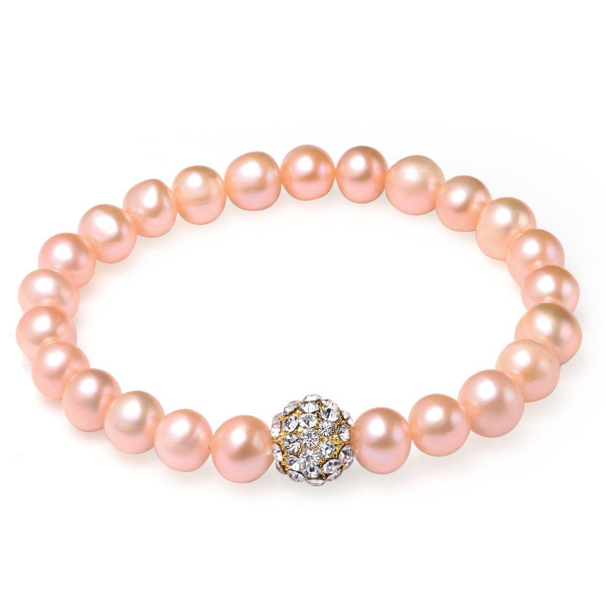 pink 8-9mm bracelet freshwater pearl 18k yellow gold plated fireball