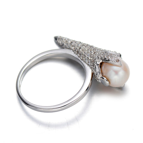 Pink 8mm Ring Cultured Freshwater Pearl and Crystal