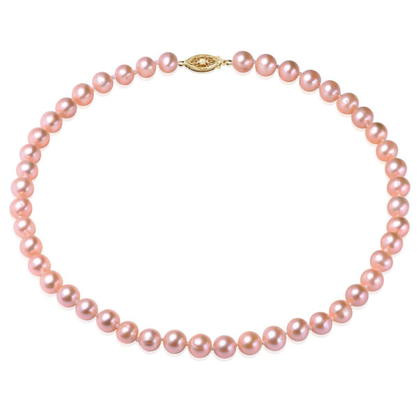 The Chloe Collection, AAAA+, 7.5-8.5mm Single Strand Pink Cultured Freshwater Pearl Necklace with 14k Yellow Gold Fish Hook Clasp