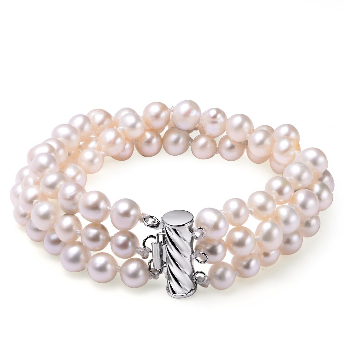 white 6-7mm bracelet triple row pearl 14k white gold filled bar clasp