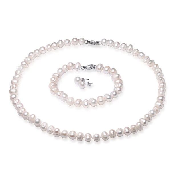 White 6-7mm Jewelry Set for Children Cultured Freshwater Pearl