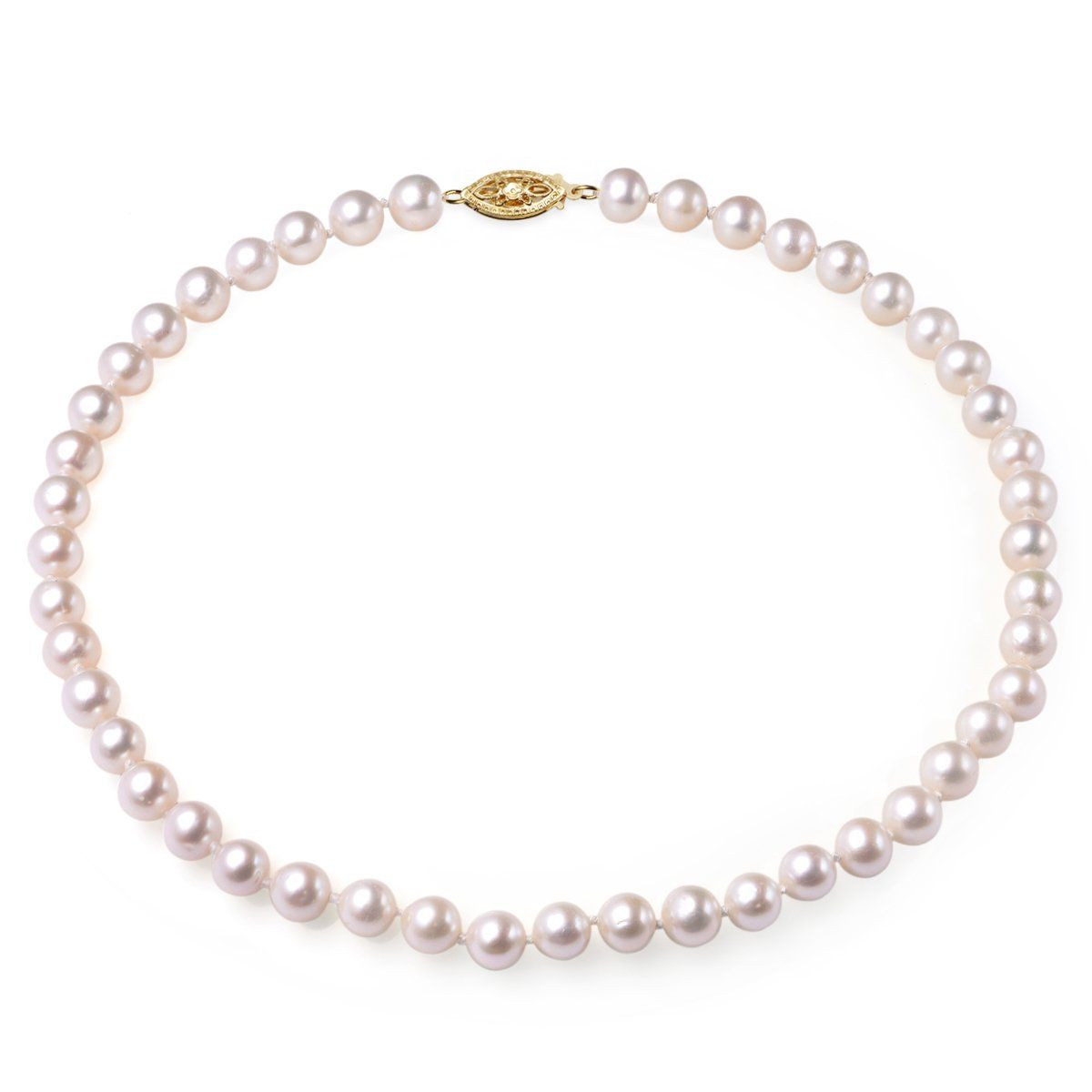 white, 7-8mm, aa, cultured freshwater pearl strand necklace with 14k solid yellow gold fish hook