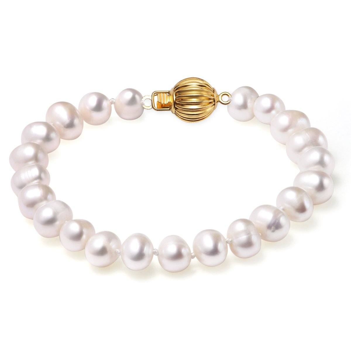 white, 7-8mm, aaa, cultured freshwater pearl bracelet with 14k solid yellow gold fluted ball