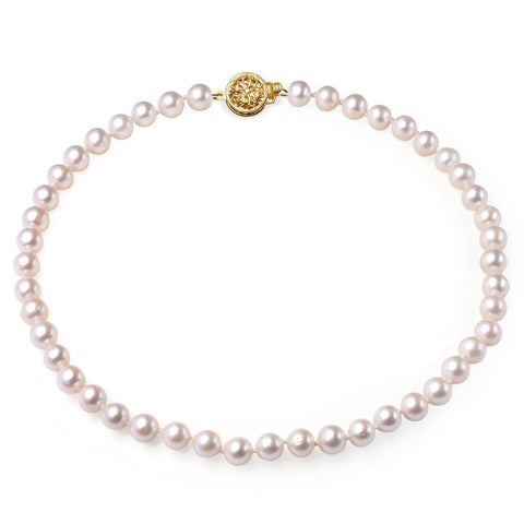 White, 7-8mm, AAA, Cultured Freshwater Pearl Strand Necklace with 14k Solid Gold Round Filigree