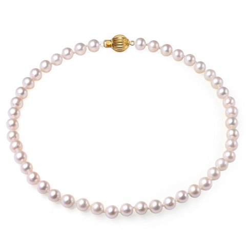 White, 7-8mm, AAA, Cultured Freshwater Pearl Strand Necklace with 14k Solid Yellow Gold Fluted Ball