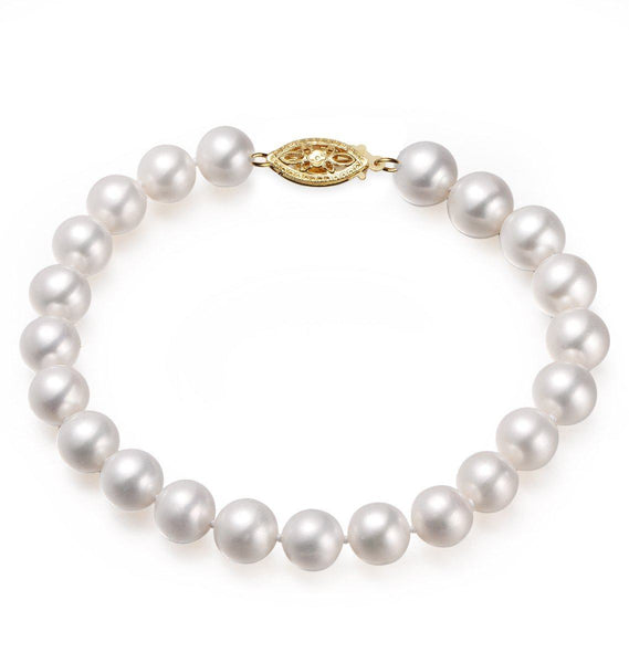 White, 9-10mm, AA+, Cultured Freshwater Pearl Bracelet with 14k Solid Yellow Gold Fish Hook