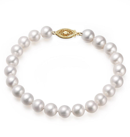 White, 9-10mm, AAA, Cultured Freshwater Pearl Bracelet with 14k Yellow Gold Filled Fish Hook