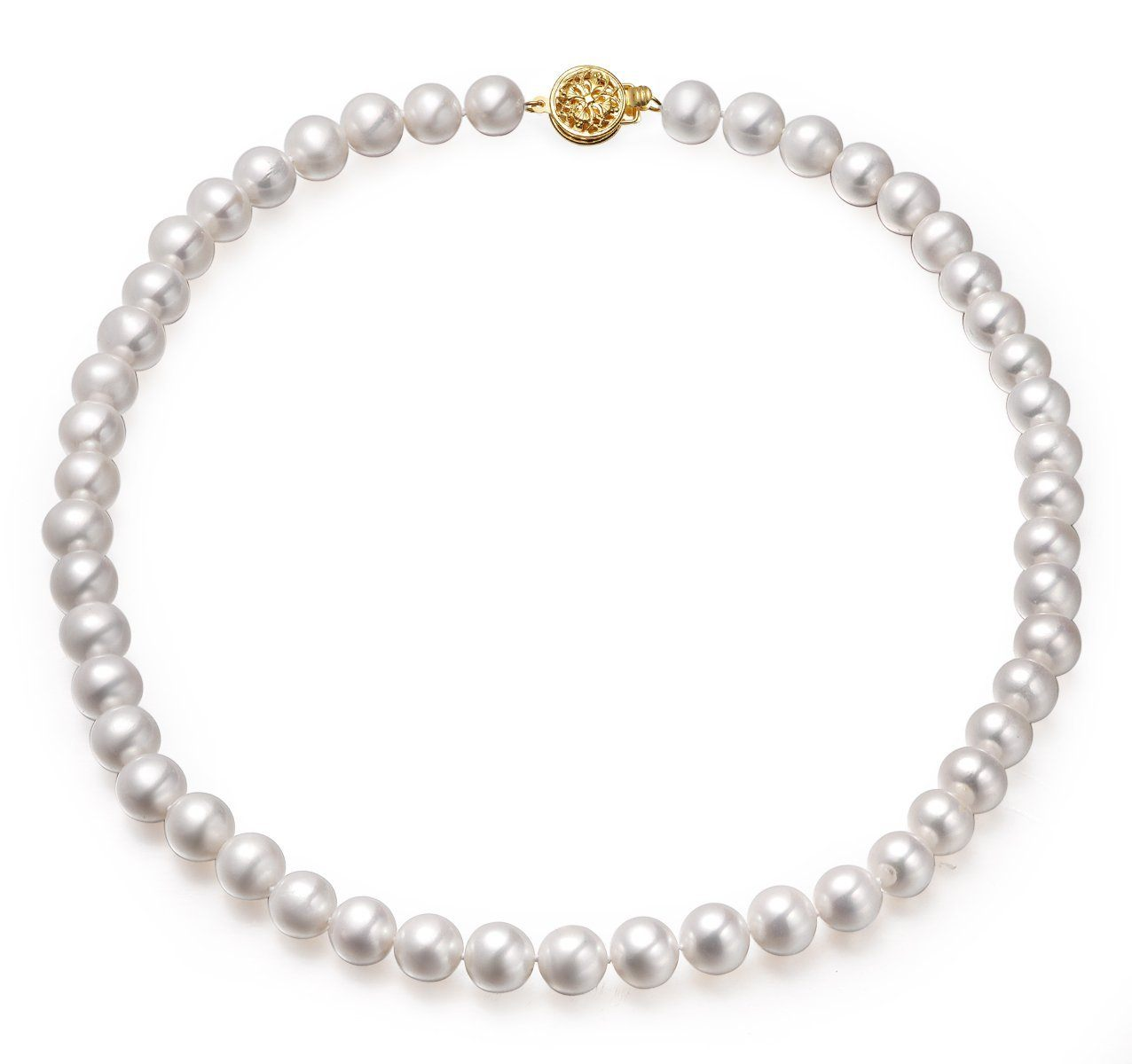 white 8-9mm aaa quality cultured freshwater pearl necklace with 14k solid yellow gold round filigree