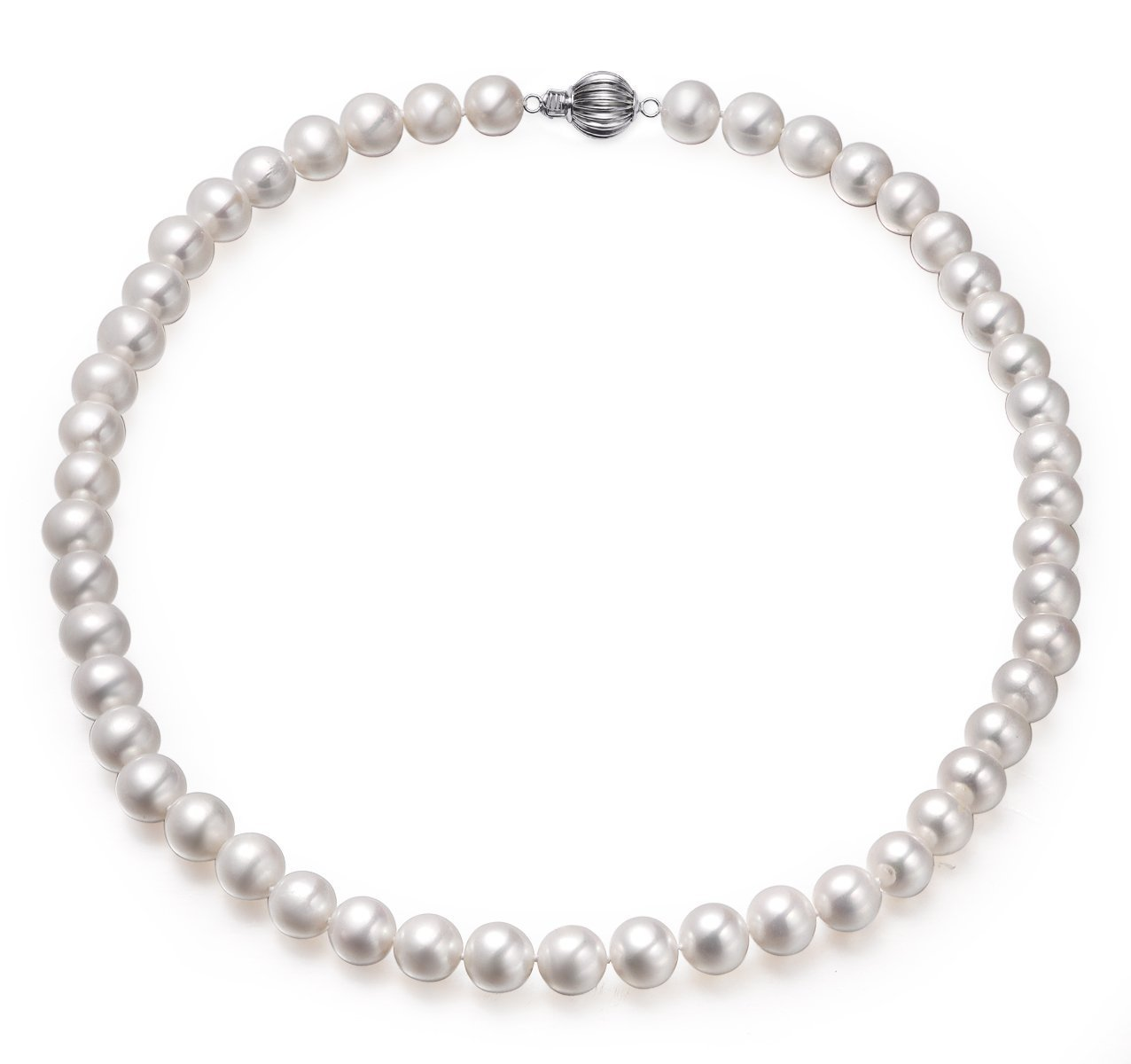 the chloe collection, aaaa+, 7.5-8mm single strand white cultured freshwater pearl necklace with 14k white gold ball clasp