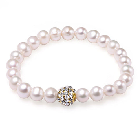 White 8-9mm Bracelet Freshwater Pearl 18k Yellow Gold Plated Fireball
