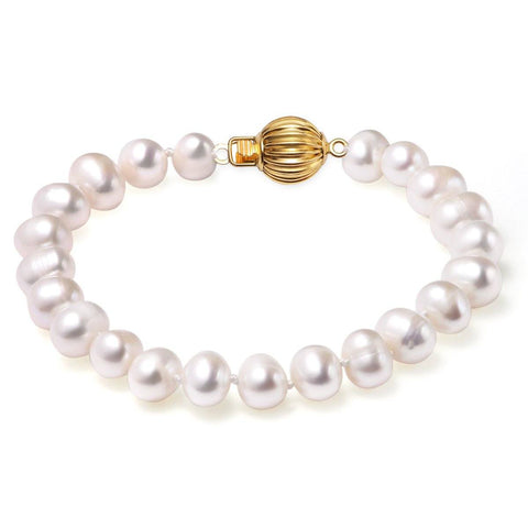 White, 9-10mm, AA+, Cultured Freshwater Pearl Bracelet with 14k Solid Yellow Gold Fluted Ball