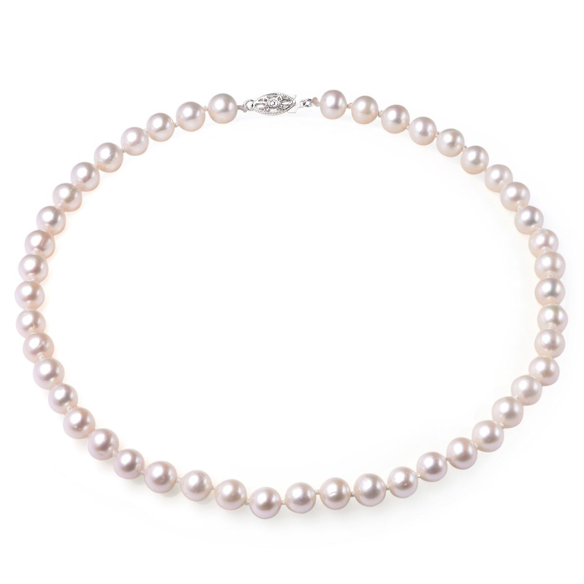 white 9-10mm aa+ quality cultured freshwater pearl necklace with 14k solid white gold fish hook