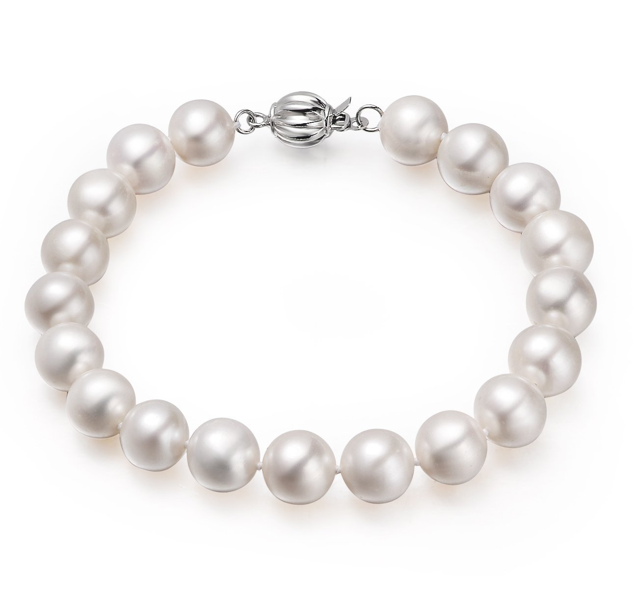 white, 9-10mm, aa+, cultured freshwater pearl bracelet with 925 sterling silver fluted ball