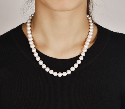 4b813cad7 ... White 9-10mm AAA Quality Cultured Freshwater Pearl Necklace with  Sterling Silver Ball Clasp ...
