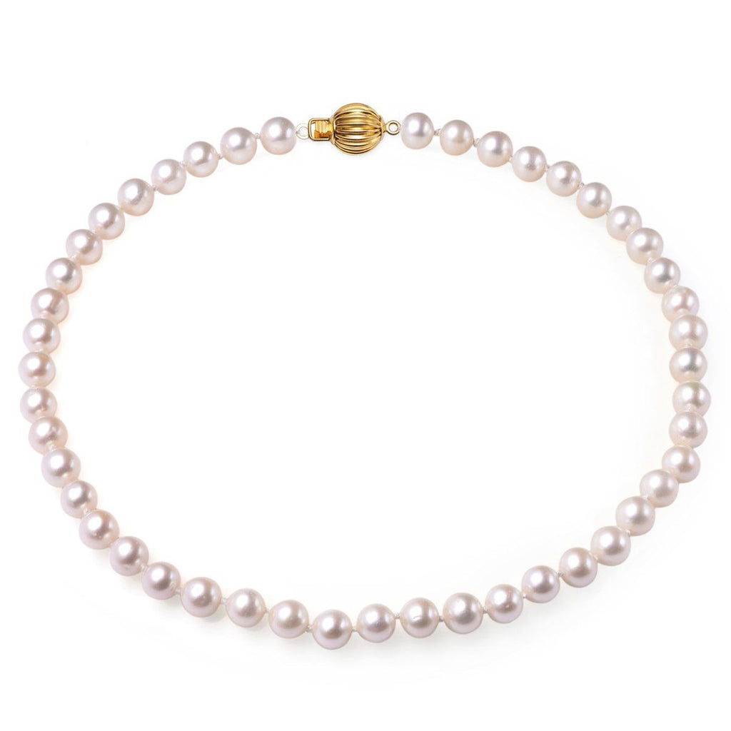 43771a123 White 9-10mm AAA Quality Cultured Freshwater Pearl Necklace with 14k S –  Avalon Pearls