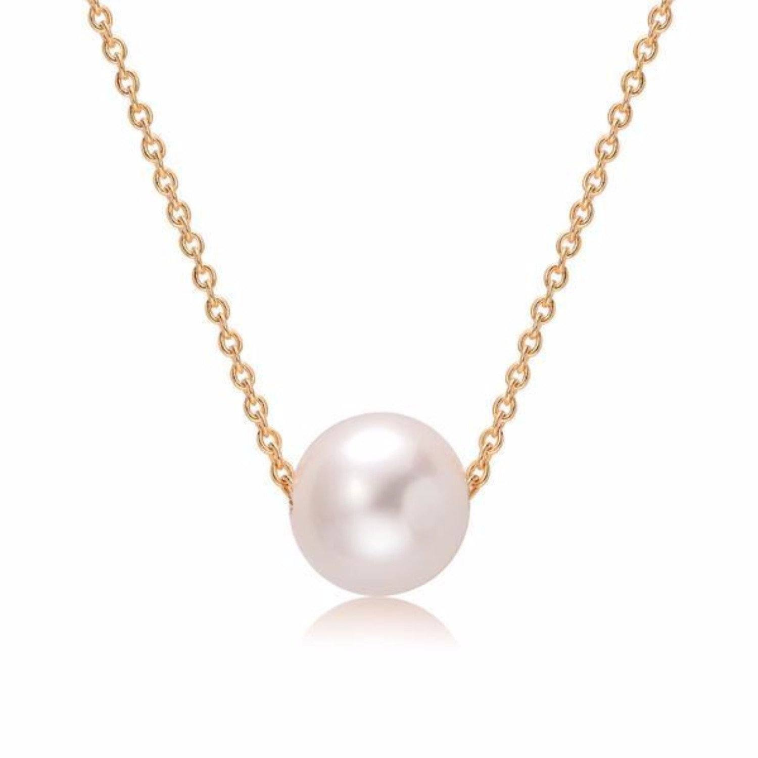 white 9-10mm necklace freshwater pearl 18k yellow gold plated chain