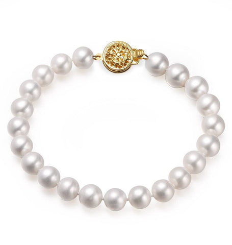 White, 9-10mm, AA+, Cultured Freshwater Pearl Bracelet with 14k Solid Yellow Gold Round Filigree