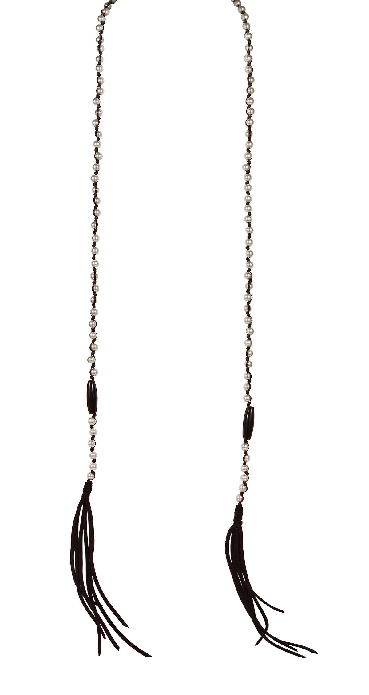 white freshwater pearls continuous black leather tassel lariat