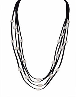 White Necklace Baroque Cultured Freshwater Pearls Black Leather