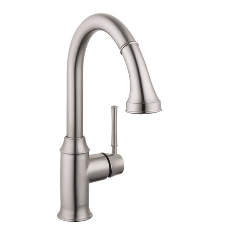 Hansgrohe Talis C 2-Spray HighArc Kitchen Faucet, Pull-Down, in Steel Optic