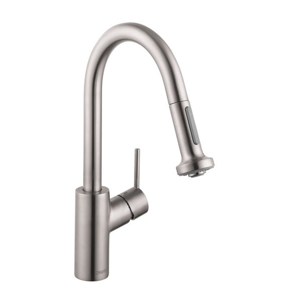 Hansgrohe Talis S 2-Spray Pull-Down Prep Kitchen Faucet in Stainless Steel - Chariotwholesale