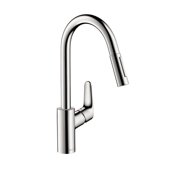 Hansgrohe Focus 2-Spray HighArc Kitchen Faucet, Pull-Down, in Chrome