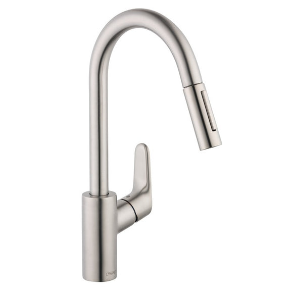 Hansgrohe Focus 2-Spray HighArc Kitchen Faucet, Pull-Down, in Steel Optic - SpeedySinks