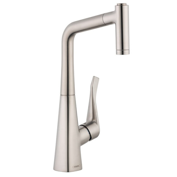 Hansgrohe Metris 2-Spray Pull-Out Prep Kitchen Faucet in Stainless Steel