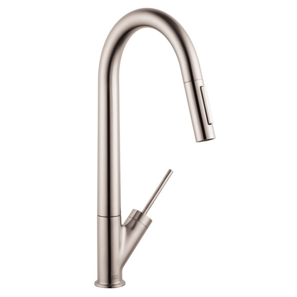 Hansgrohe AXOR 2-Spray HighArc Kitchen Faucet, Pull-Down, in Steel Optic - SpeedySinks